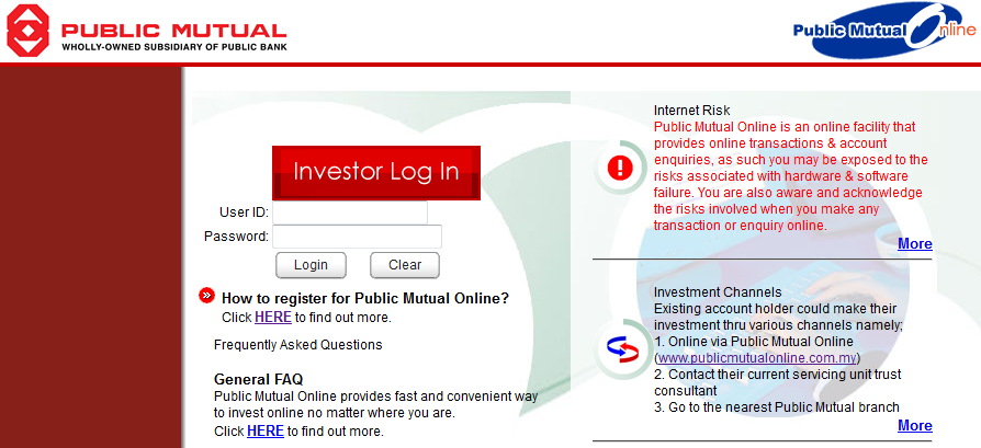 Login page for Public Mutual Online