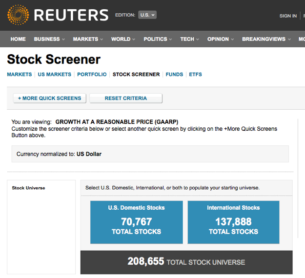 Reuters Stock Screener
