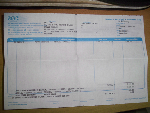 Asus Zenfone 5 Receipt