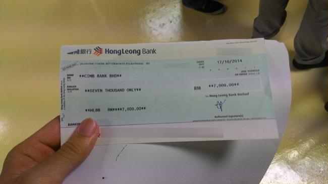 Bank draft for deposit