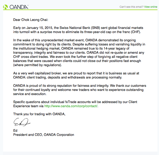 OANDA stands with clients in the wake of Swiss National Bank shock