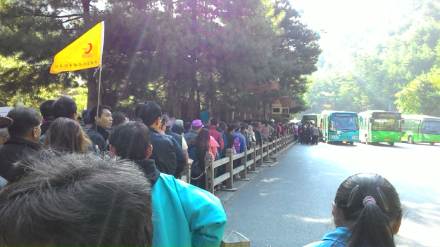 Crowded bus station