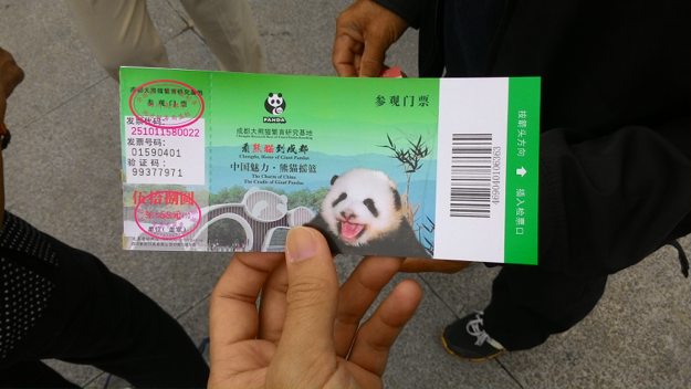 Ticket to visit pandas