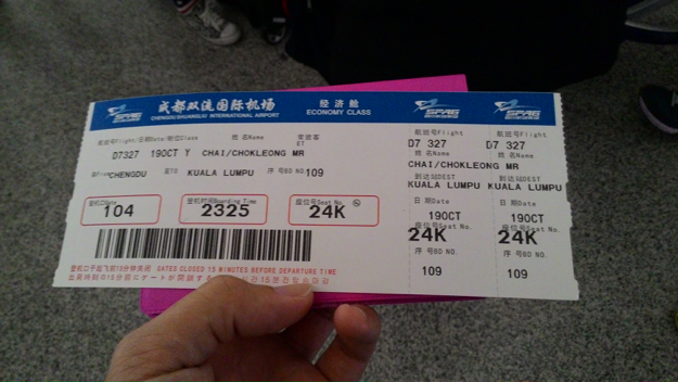 Chengdu-KL flight ticket