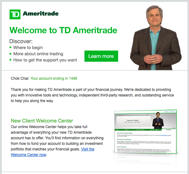 Welcome Email from TD Ameritrade