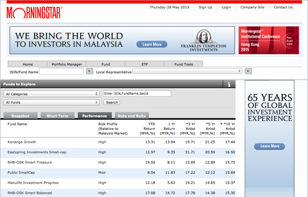 Top Malaysian Funds over The Last 10 Years from Morningstar