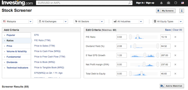 Stock Screener from Investing.com